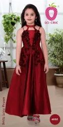 Synthetic Girl Trendy Maroon Cut Shoulder Floral Applique Party Dress
