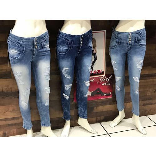 501eff745 Sweet Girl Ladies Skinny Fit Ripped Denim Jeans, Size: 26 & 28, Rs ...