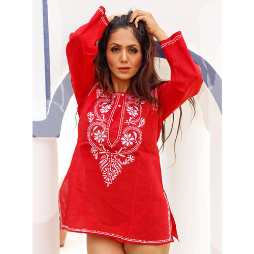 Red Cotton Round Neck Embroidered Short Tunic
