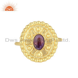 Hand Craved Gold Plated Silver Designer Amethyst Gemstone Rings