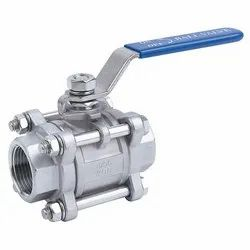 SS Screw End 3 Piece Design Ball Valve