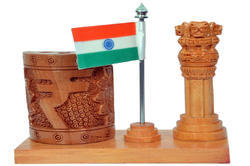 Wooden Ashoka Stambh with Flag & Pen Holder