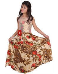 Half Sleeves Casual Wear Girls Printed Gown, Size: 2-10 YEARS
