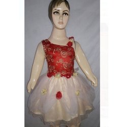 Red & White Chiffon and Net Designer Kids Frock
