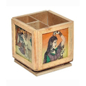 Painted Wooden Pen & Pencil Holder