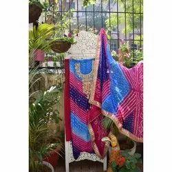 Party Wear Art Silk Gota Patti Suit, Size: XL