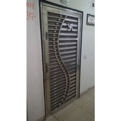 Hinged Silver Stainless Steel Security Door, For Home, Single