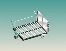 2rubber + 2 nylon Roller Pallet Trolley, Model Name/Number: RPT01, Load Capacity: 01ton