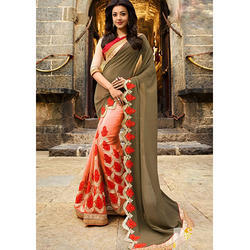 Chiffon Indian Plain Sarees