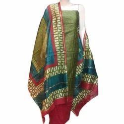 Silk Maheshwari Printed Casual Wear Unstitched Suit