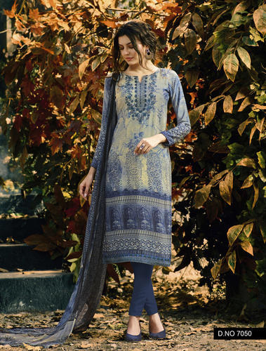 9eecbbbab3 Designer Crepe Printed Dress Materials With Embroidery and Stone Work