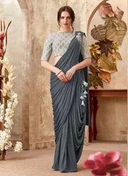 Gorgeous Look Reception Wear Lycra Saree