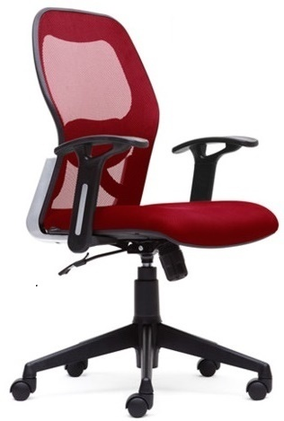 Revolving Leather And Fabric Mesh Office Chair 03 Back Rest Adjule Yes