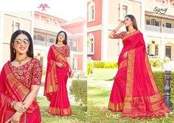 Red Color Fancy Designer Wear Sarees