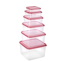 Plastic Square Container - 6 Pcs Set