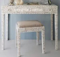 Neutral Charm Mother of Pearl Console Table with Stool