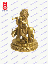 Lord Krishna Standing W/Cow On Lotus Base Statues