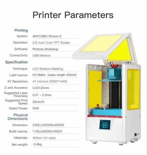 2019 Latest & Updated ANYCUBIC Photon-S LCD DLP SLA 3D Printer 405nm Matrix  UV Light Dual Z