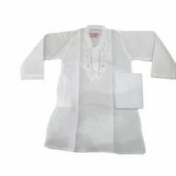Machine Embroidery White Kids Polyester Cotton Kurta Pyjama, Size: 14-38