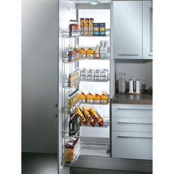 Silver Stainless Steel Kitchen Pantry Unit
