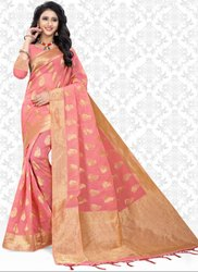 Coral Pink Super Net Saree