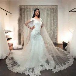 White Illusion Neck Wedding Gown