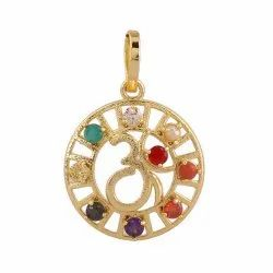 Navgrah Rhodium Gold Plated Pendant