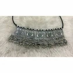 Ladies Oxidized Silver Partywear Necklace, Packaging Type: Packet