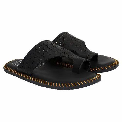 Blanchi Black Mens Leather Slipper, Size: 6-10