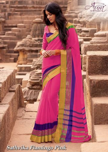 5507bb1d18 Formal Wear Temple Border Aura Cotton Saree, Rs 950 /piece | ID ...