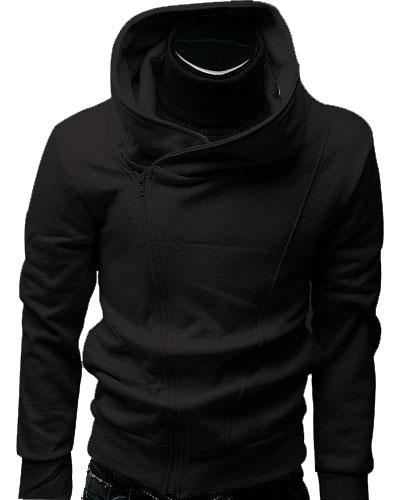 b548a01daa4c Black Cotton Linen Assassin Zipper Hoodie