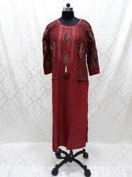 Cotton Merun Ethnic Wear Kurti