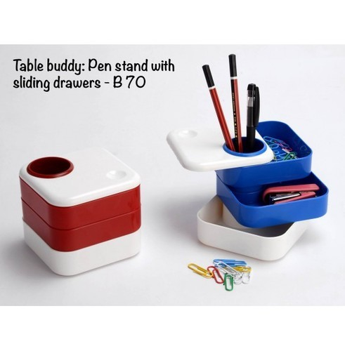 Plastic Red/blue B70 - Table Buddy: Pen Stand With Sliding Drawers