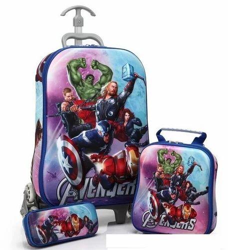 Children 3d 3pcs Cartoon Trolley School Bag Set Avengers
