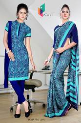 Sky Blue and Navy Blue Italian Crepe Uniform Saree Kurti Combo
