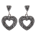 Marcasite 925 Sterling Silver Heart Shape Earring
