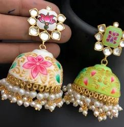 Hand Made Meena Earrings