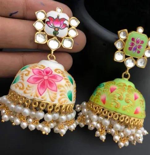 Hand Made Meena Jhumka