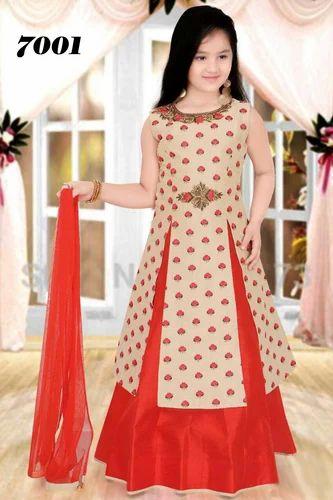 bf058da2c Silk Red Designer Floral Print Kurti Lehenga For Girls