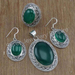 925 Sterling Silver Green Onyx Gemstone Jewelry Set