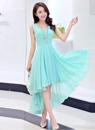 45350ddea0 Dresses Party Wear WIGGLEE New Sky Blue Georgette Designer Western Dress