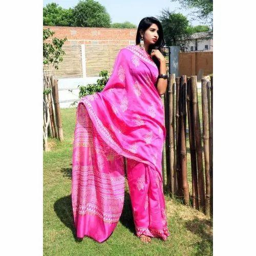 White, Pink Ladies Designer Printed Chanderi Saree, 6.3 M (with Blouse Piece), Packaging Type: Poly Bag