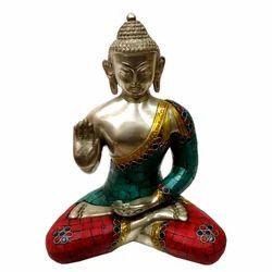 Brass Buddha Statue With Gemstone Work