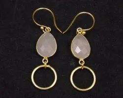 Pink Chalcedony Gemstone Pear Shape Earring with Gold Plated