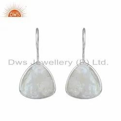 Rainbow Moonstone Fine Sterling Silver Designer Hook Earrings
