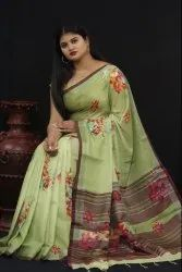 Pure Linen With Flower Print Saree