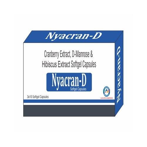 Nyacran D Cranberry Extract D Mannose and Hibiscus Extract Softgel Capsules, Packaging Type: 3 X 10