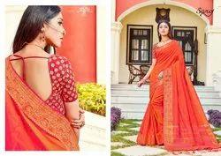 Ethnic Stylish Orange Designer Saree