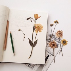 Note Book With Dry Flower Pasting