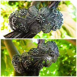 Oxidized Silver Plated Filigree Bangle Bracelet